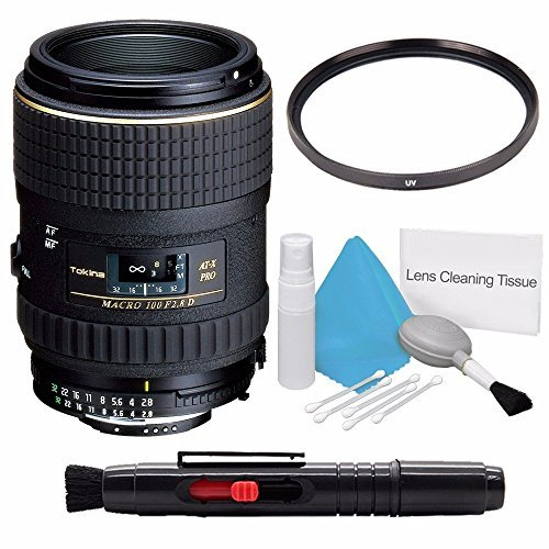 Tokina 100mm f/2.8 AT-X M100 AF Pro D Macro Autofocus Lens for Nikon AF-D (International Model) No Warranty+Deluxe Cleaning Kit + Lens Cleaning Pen + 55mm 3 Piece Filter Kit Bundle 4