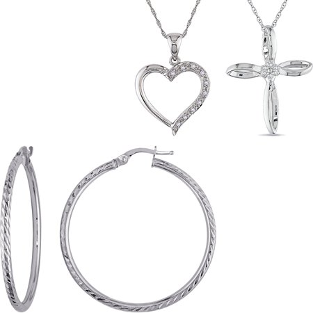 Mix and Match White Gold Pendants and Hoop Earrings Fine Jewelry Collection