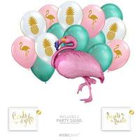 Andaz Press Tropical Pineapple Flamingo Party Balloon Bouquet Set, Tropical Aloha Hawaiian Luau Theme Supplies