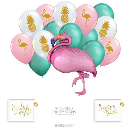 Andaz Press Tropical Pineapple Flamingo Party Balloon Bouquet Set, Tropical Aloha Hawaiian Luau Theme Supplies - Luau Themes