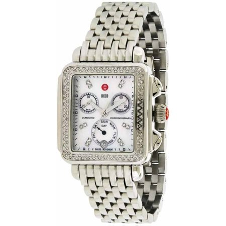 Mother Of Pearl Silver Wrist Watch - Michele Deco Women's Stainless Steel Watch With Mother of Pearl Dial