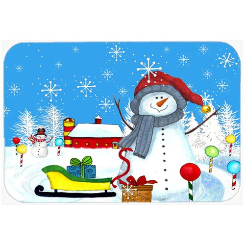 Caroline's Treasures Snow Happens in the Meadow Snowman Glass Cutting Board