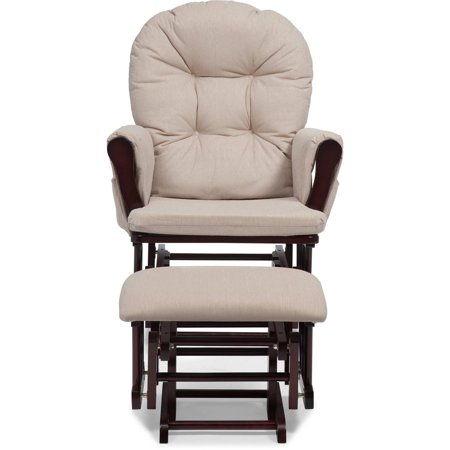 Storkcraft Bowback Glider And Ottoman Cherry Finish And