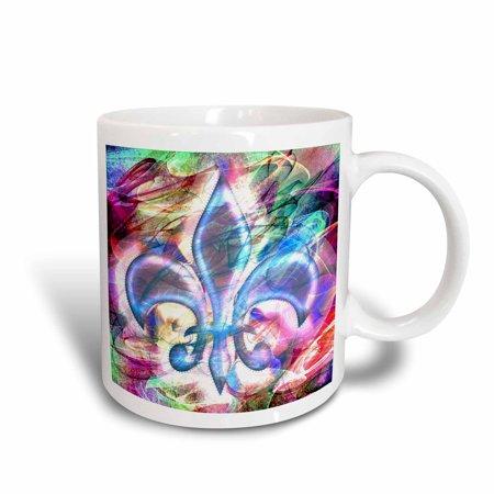 3dRose Fleur De Lis Abstract Art, Ceramic Mug, 15-ounce - Fleur De Lys Ceramic