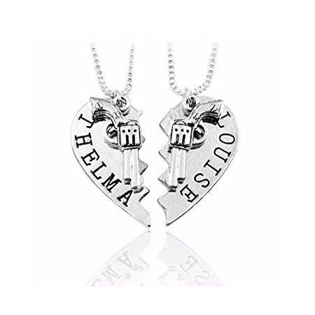 Art Attack Silvertone Thelma & Louise Gun Revolver BFF Best Friends Broken Heart Partners In Crime Bandit Bag Pendant