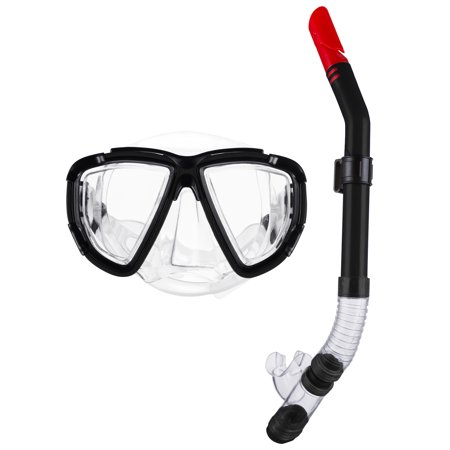 Musetech Premium Dry Top Snorkel Set - Impact Resistant Tempered Glass Diving Mask, Watertight and Anti-Fog Lens for Best Vision, Easy Adjustable (Best Snorkel And Mask Review)