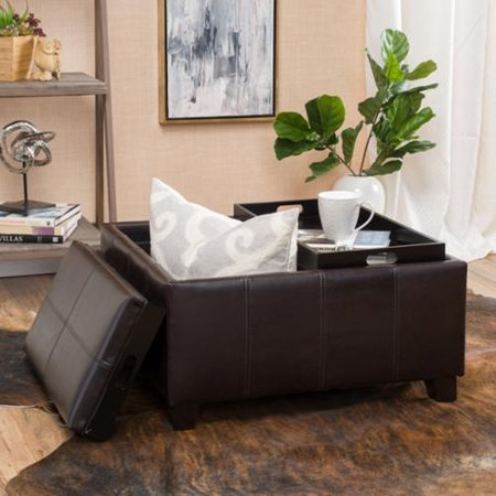 Superb Tobias Brown Storage Ottoman Caraccident5 Cool Chair Designs And Ideas Caraccident5Info