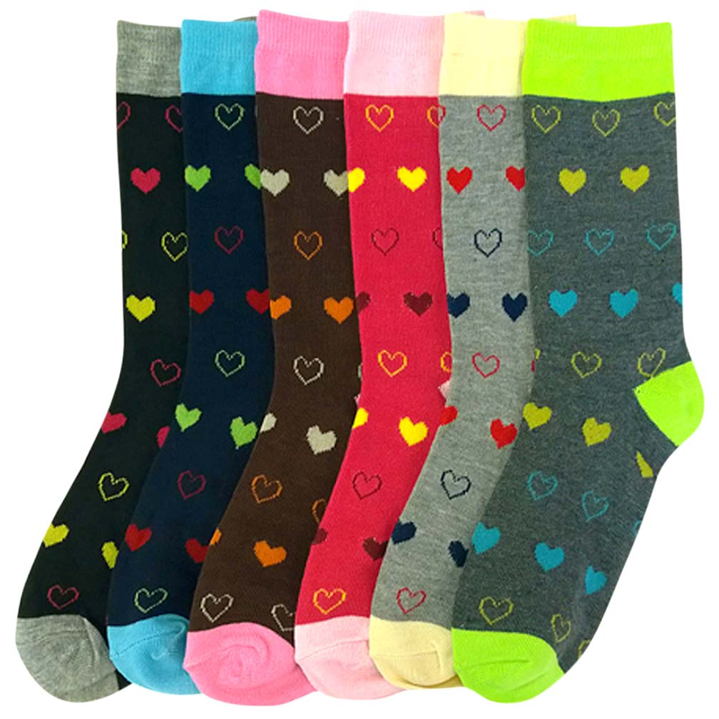 Luxury Divas Colorful Hearts Of Love Print Ladies 6 Pack Assorted Crew Socks