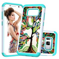 [Cute Design] Galaxy S8 Case, Dteck 2 in 1 Shockproof Silicone PC Hard Dual Layer Protective Case Cover For Samsung Galaxy S8,Happy Tree