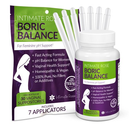 Intimate Rose Boric Acid Suppositories - pH Balance for Women - Boric Acid Vaginal Suppositories for Yeast Infection Treatment, Vaginitis, Bacterial (Best Over The Counter Yeast Treatment)