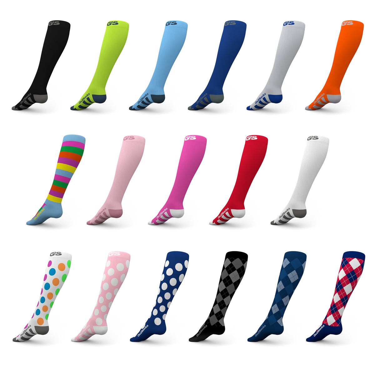 Go2 Compression Socks for Women and Men Athletic Running Socks for Nurses Medical Graduated Nursing Compression Socks for Travel Running Sports Socks!