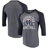 Washington Wizards Majestic Threads Ball Hog Raglan Tri-Blend 3/4-Sleeve T-Shirt - Heathered Navy