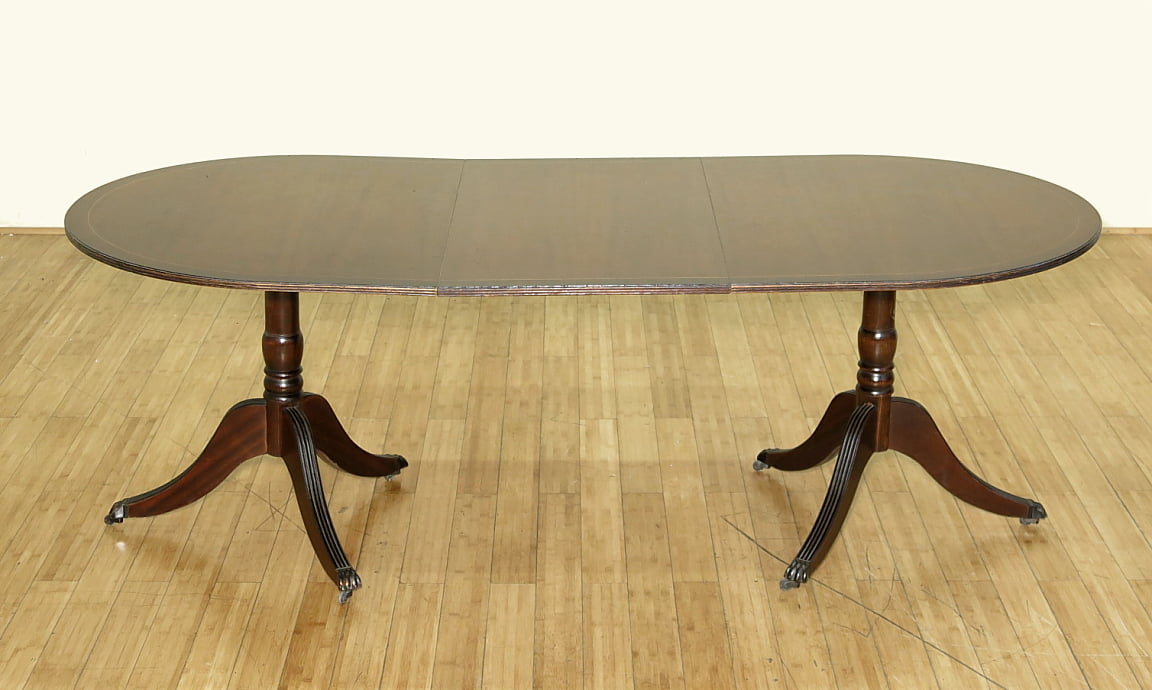 c1949 7Ft Antique English Mahogany Oval Double Pedestal Dining Table w  Leaf by Antiques