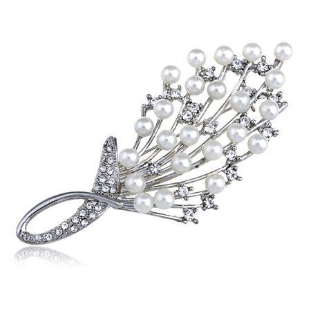 Intricate White Faux Pearl Clear Crystal Rhinestone Bouquet Design Pin (Pearl Brooch)