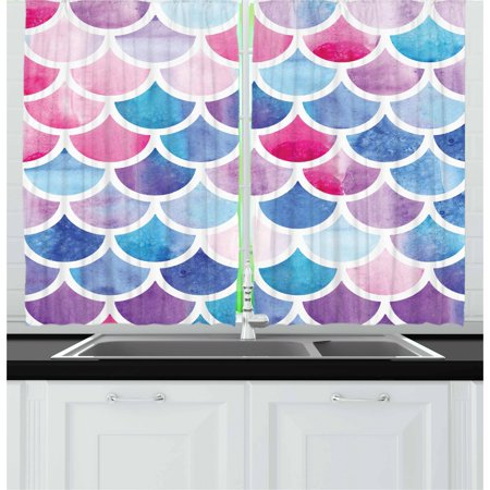 Fish Scale Curtains 2 Panels Set, Circles with Pastel Watercolors Mermaid Pattern Tropical Artistic Illustration, Window Drapes for Living Room Bedroom, 55W X 39L Inches, Multicolor, by Ambesonne (Scale Window)