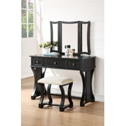 Bobkona 3 Fold Mirror Vanity Table with Stool Set, Black