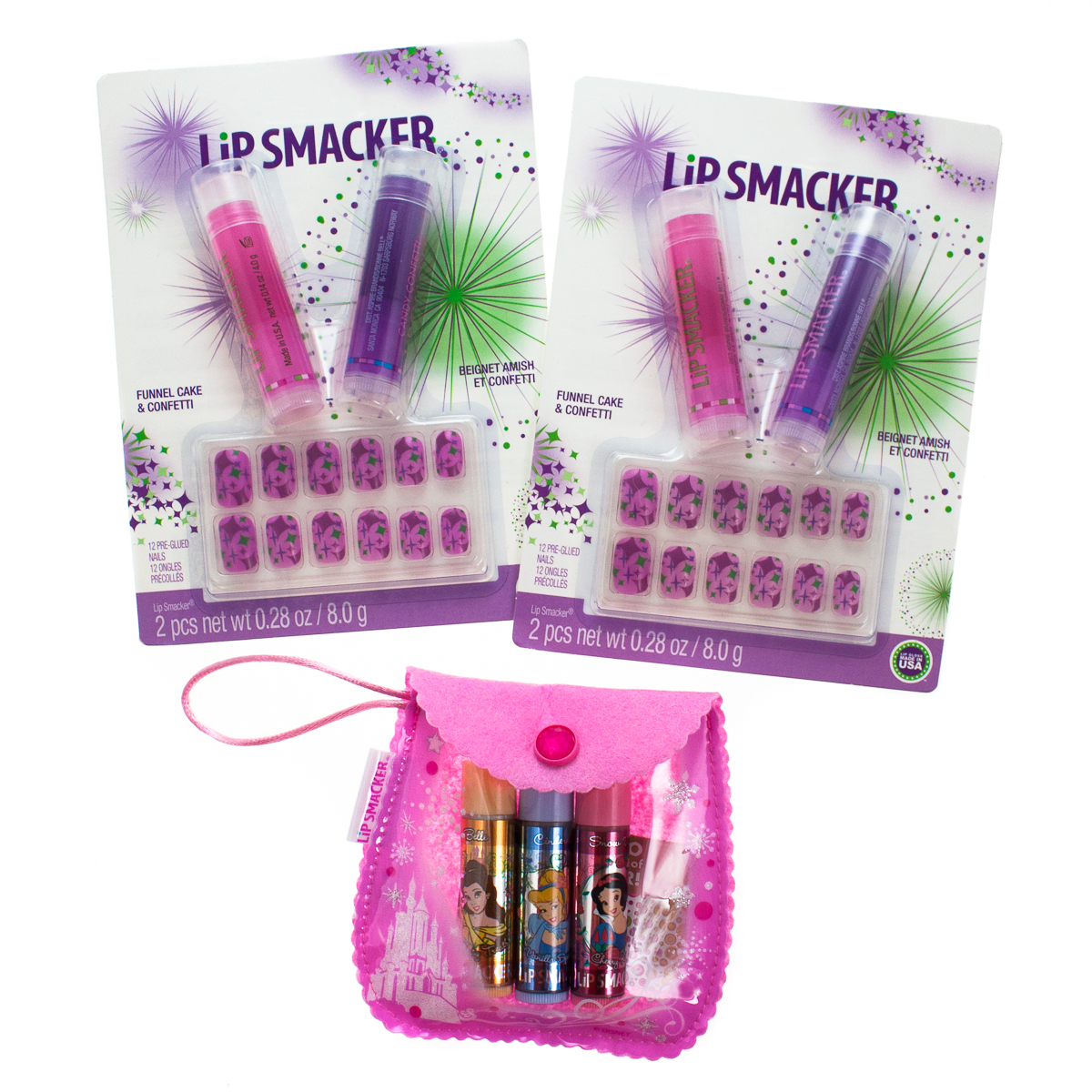 3 Sets Lip Smacker Flavored Balm Pre-Glued Finger Nails Disney Princess + Pouch