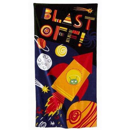 - Jumping Beans Blast Off Rocket Plush Cotton Velour Beach Towel 30x60