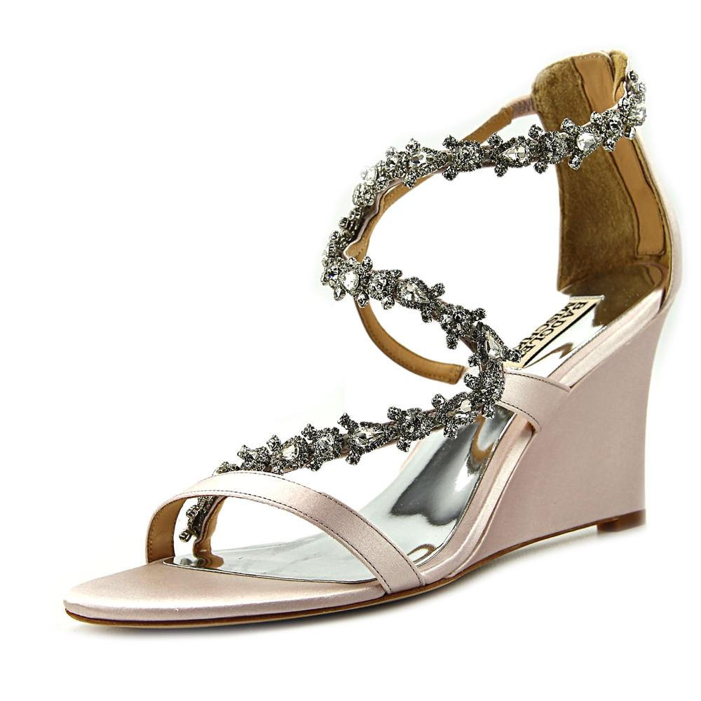 Badgley Mischka Bennet Open Toe Leather Wedge Sandal by Badgley Mischka
