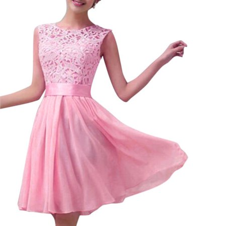 Womens Lace Short Dress Prom Evening Party Cocktail Bridesmaid Wedding Sleeveless Skirts - Sparkle Skirts Promo Code