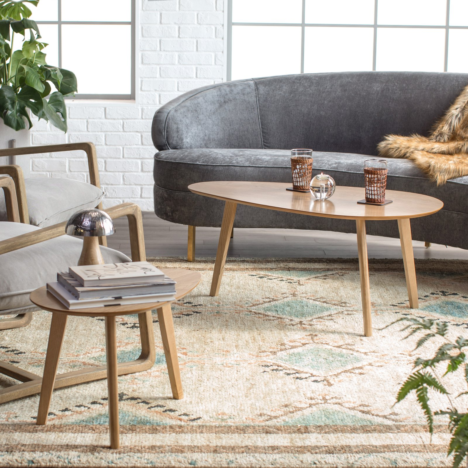 Finley Home Raymore Mid Century Modern Coffee Table Set Oblong Walmart Com Walmart Com