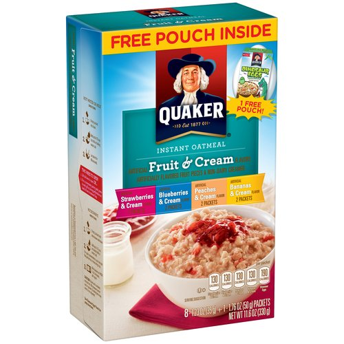 Quaker Quaker Fruit & Cream Instant Oatmeal Variety Pack, 1.23 oz, 8 count