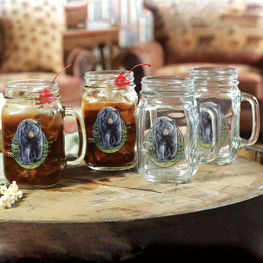 Lone Star Western Decor Bear Jar Glassware - Set of 4 - L...