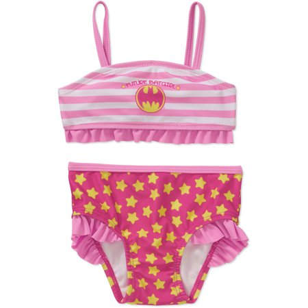 Batgirl Newborn Baby Girl Ruffle Trim 2-piece Bikini Swimsuit