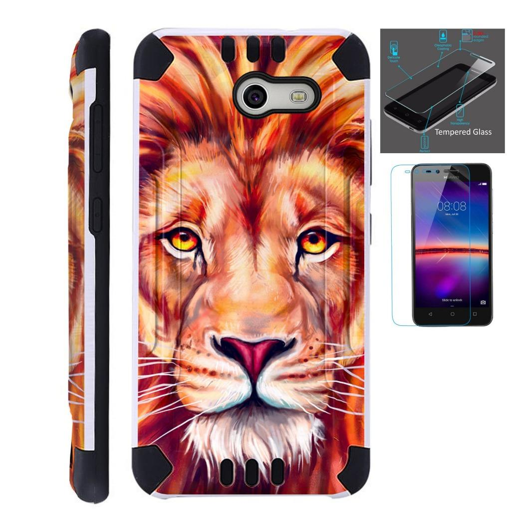 For Alcatel Zip Case + Tempered Glass Brushed Metal Texture Hybrid TPU KombatGuard Phone Cover ( Lion )