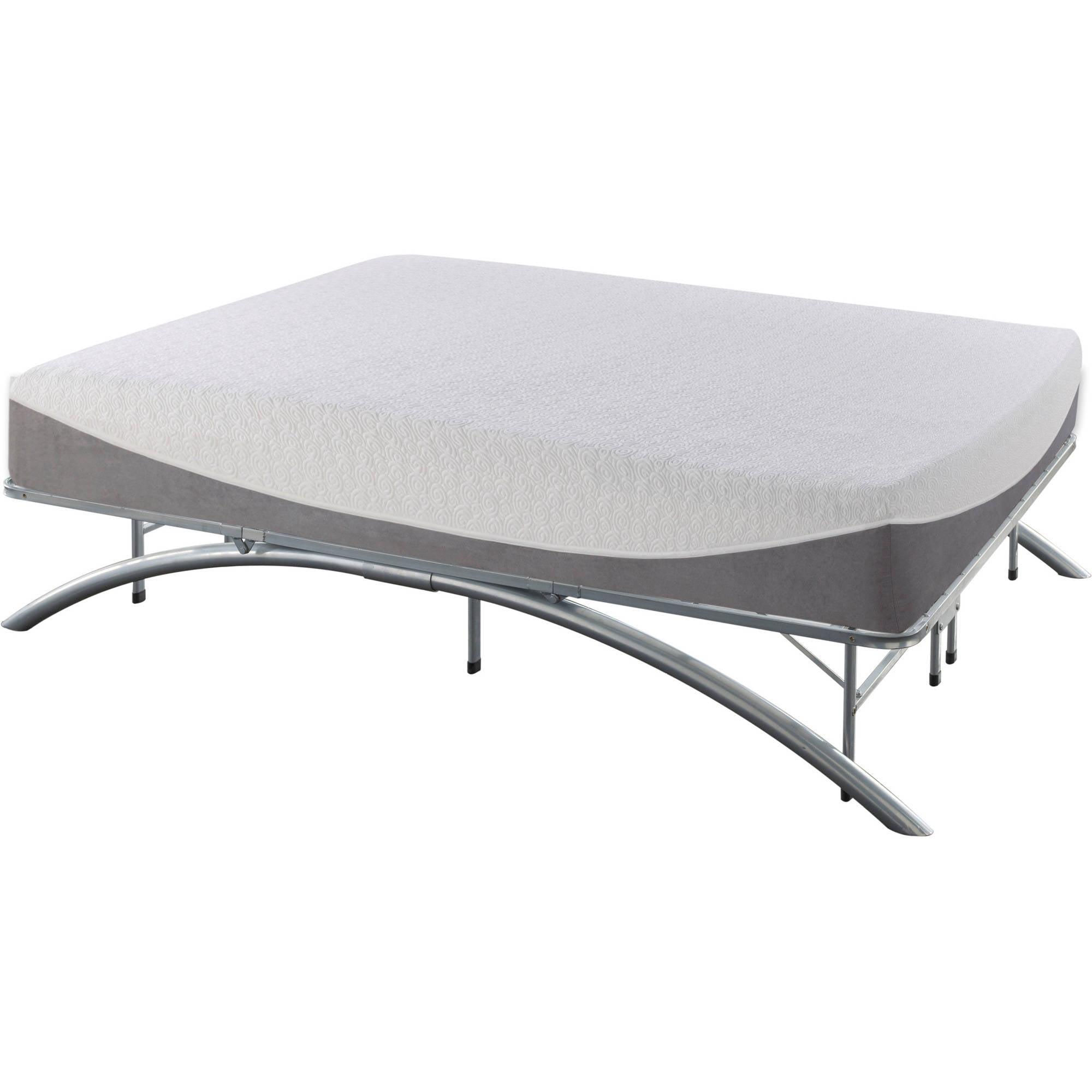 White Platform Bed Frames premier ellipse arch platform bed frame, brushed silver - walmart