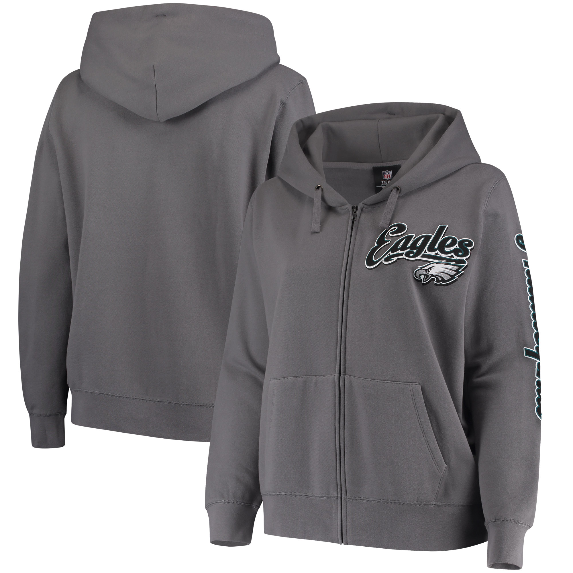 Philadelphia Eagles 5th & Ocean by New Era Women's Plus Size Script Full-Zip Hoodie - Charcoal