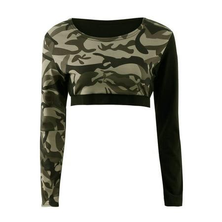 Running Outlet (EFINNY Women's Elastic Sport Long Sleeve Running Yoga Tracksuit Crop Tops + Pants )