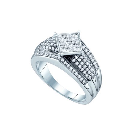 Sterling Silver White 0 33Ctw Elegant Micro Pave Diamond Center Square Ring