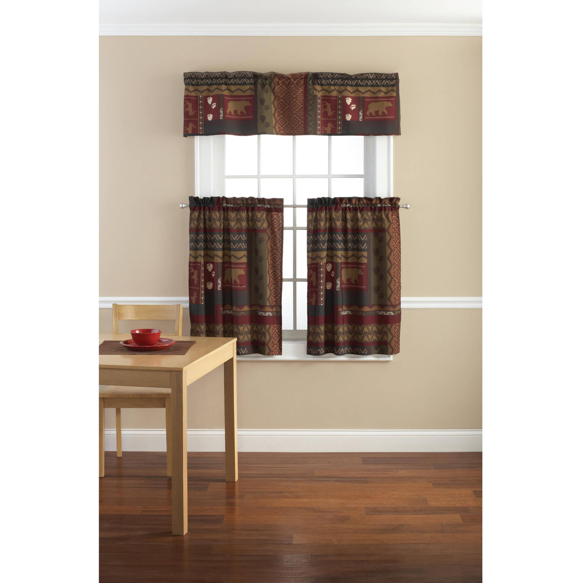 mainstays tahoe cabin printed valance and kitchen curtains, set of