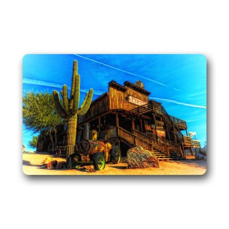 WinHome Arizona Saloon Cactus Landscape Western Doormat Floor Mats Rugs Outdoors/Indoor Doormat Size 23.6x15.7 inches - Saloon Door