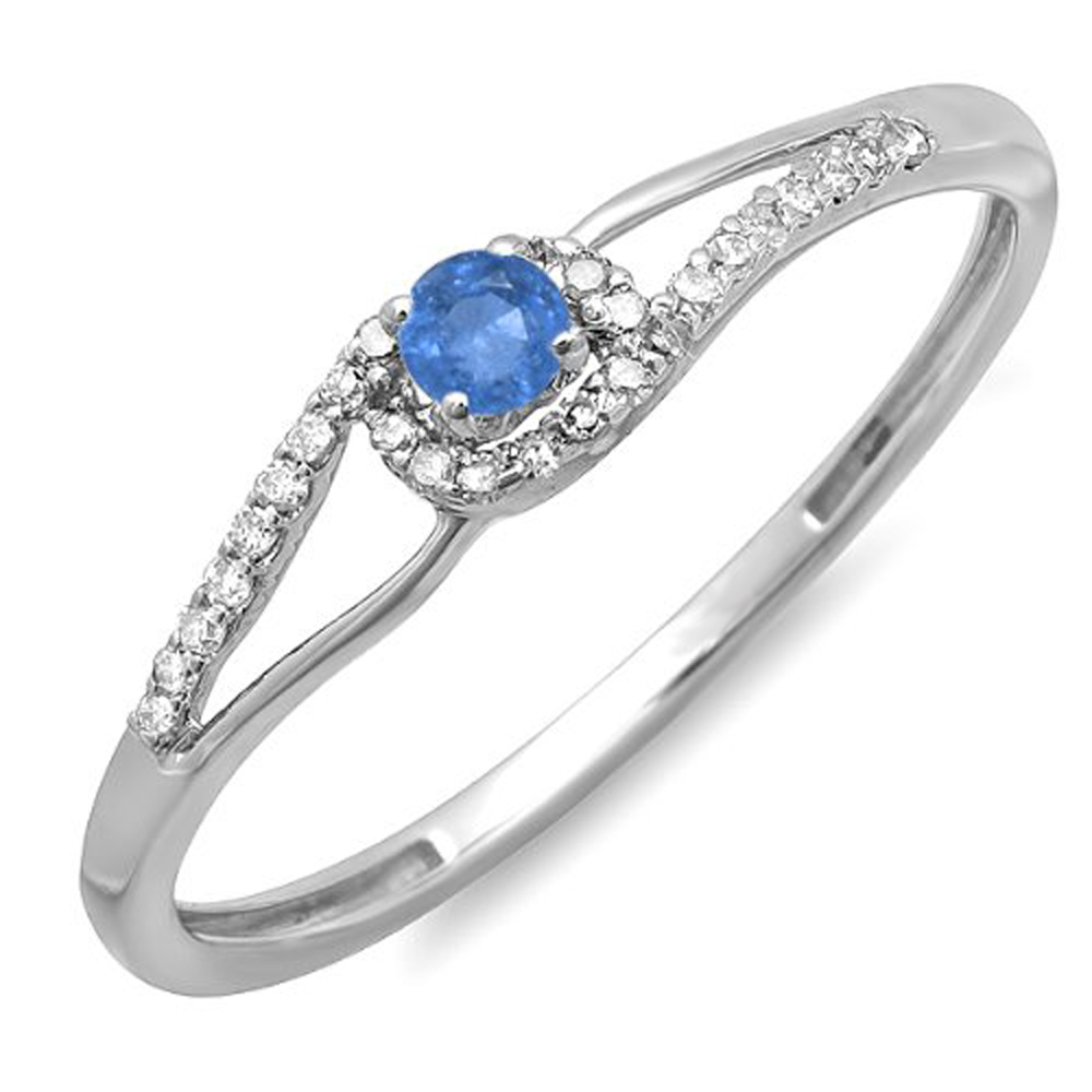 18K White Gold Round Cut Blue Sapphire And White Diamond Ladies Engagement Bridal Promise Ring