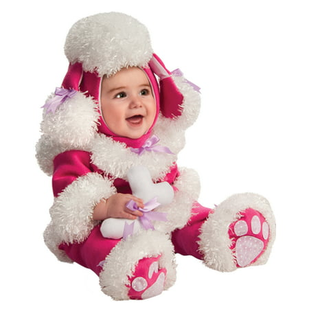 Toddler Poodle Costume (Pink Poodle Baby Girl Infant Cuddly First Halloween Warm Costume (12-18)