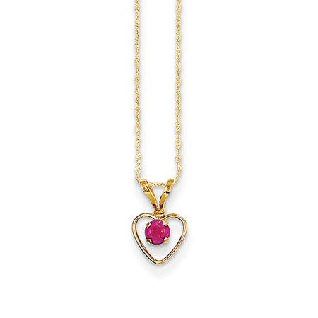 Number 15in Heart (14k Yellow Gold 15in Children's 3mm Ruby Heart Birthstone Necklace)
