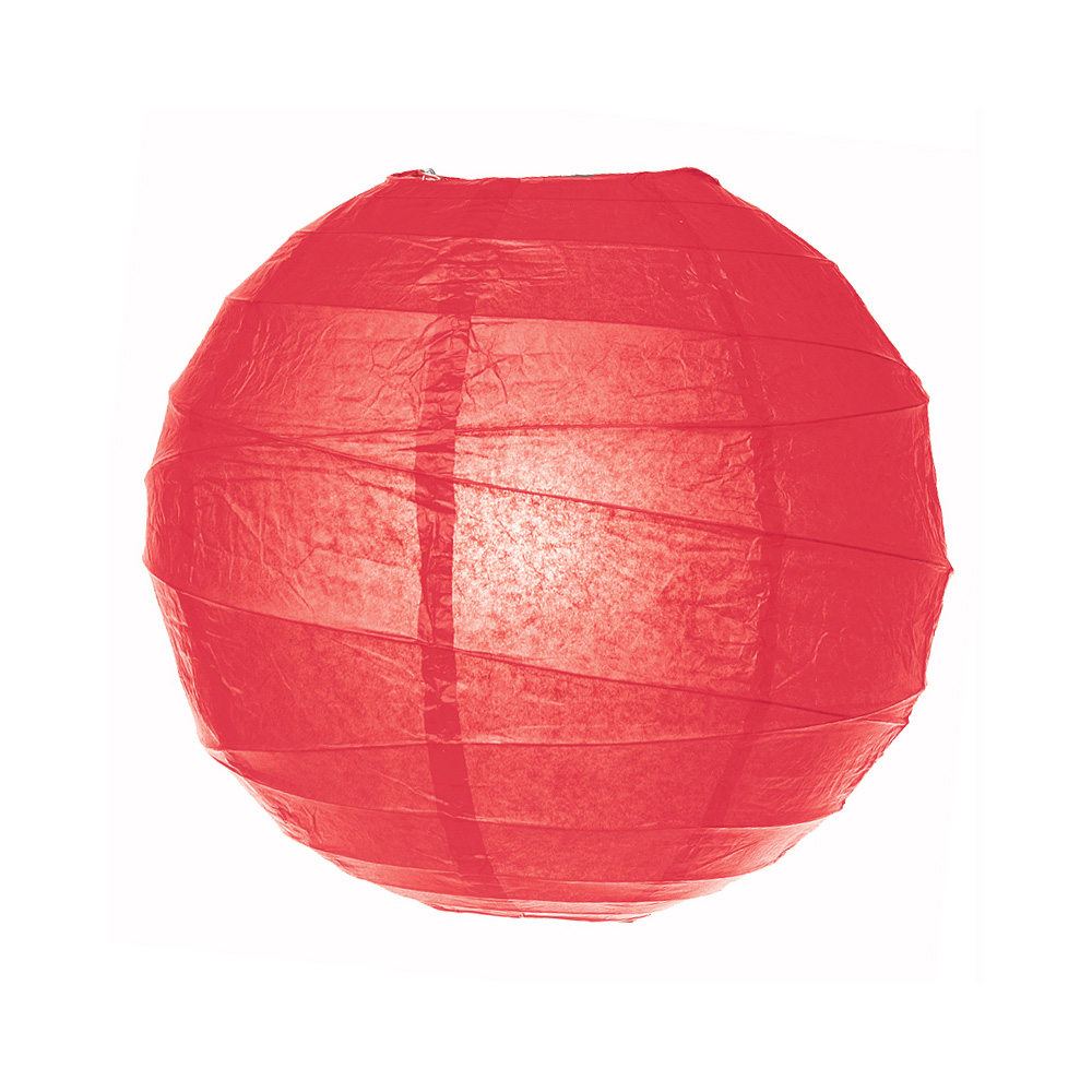 Luna Bazaar Paper Lantern (20-Inch, Free-Style Ribbed, Red) - Rice Paper Chinese/Japanese Hanging Decoration - For Home Decor, Parties, and Weddings