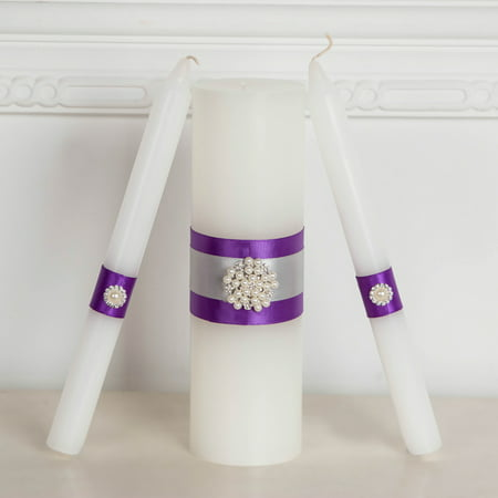 Majestic Crystal Candle - Handmade Unity Candles, Wedding Unity Candle Ceremony Unity Candles Set Handmade Purple Ribbon And Pearl Decorated