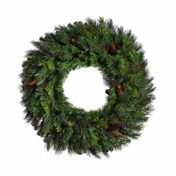 "24"" Cheyenne Pine Artificial Christmas Wreath with Pine Cones - Unlit"