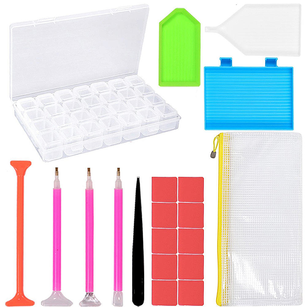 Girl12Queen 20Pcs 5D Diamond Painting Cross Stitch Tools Kits Embroidery Storage Box Pen