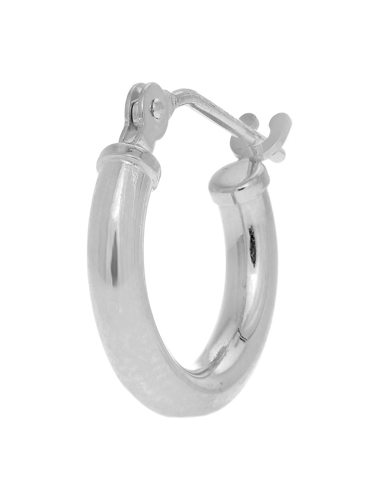 14K Real White Gold Tubular Hoop 12mm Round Men's Single Earring