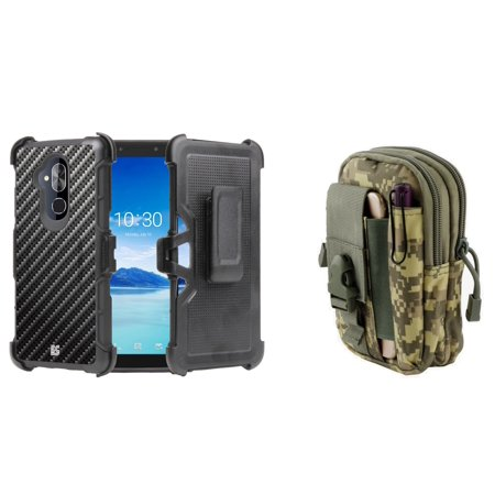Tactical Carbon Fiber (BC Rugged Dual Layer Armor Kickstand Holster Case (Carbon Fiber) with ACU Camo Tactical EDC MOLLE Waist Bag Holder Pouch and Atom Cloth for T-Mobile REVVL 2 Plus)