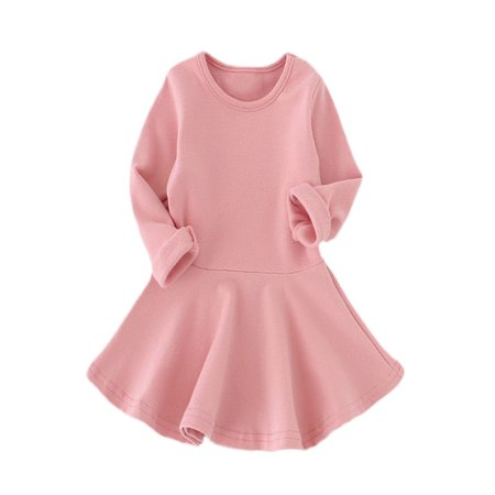 Baby Girls Candy Color Long Sleeve Solid Princess Casual Toddler Kids Dress (Casual Girl Dresses)
