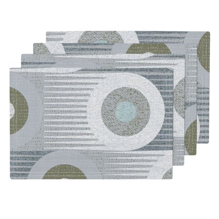 Cloth Placemats Gray Circles Large Scale Circles Mid Century Mod Retro Set of