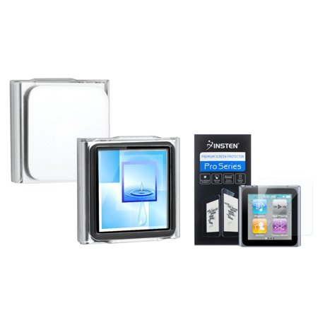 Insten Clear Clip-on Crystal Case+3x Clear Screen Protector For Apple iPod Nano 6 6G 6th (Ipod Nano Screen Protector)