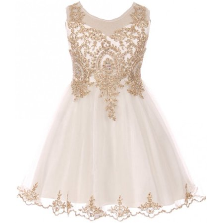 Big Girls' Dress Sparkle Rhinestones Holiday Christmas Party Flower Girl Dress Ivory Size 18 (M10BK49)