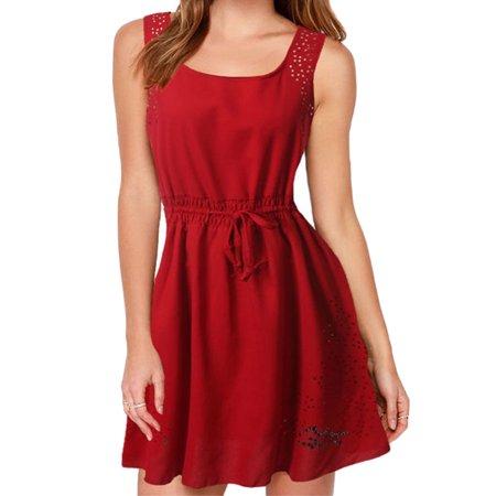 1bb3161ab7e HIMONE - Summer Women Sleeveless Casual Chiffon Short Mini Dress ...