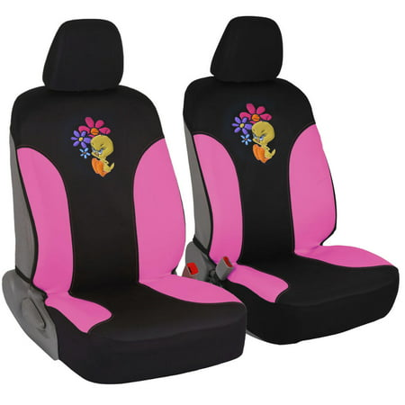 BDK Warner Brothers Car Seat Covers - 100% Waterproof Front Pair Pink Sides (Two Seat Covers)- Tweety Bird Attitude, Side Airbag Compatible
